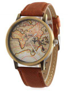 Faux Leather Map Quartz Watch - Brown
