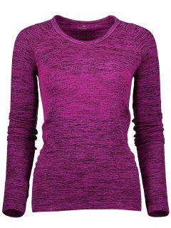 Long Sleeve Space Dye Running Top - Purplish Red L