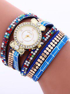 Layered Studded Analog Bracelet Watch - Blue