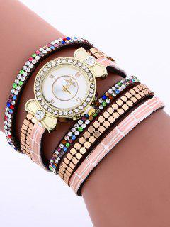 Layered Studded Analog Bracelet Watch - Brown