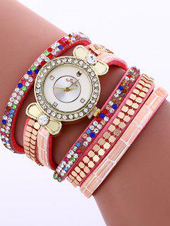 Layered Studded Analog Bracelet Watch - Pink
