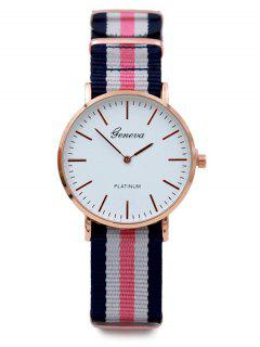 Striped Analog Quartz Watch - Pink