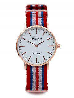 Striped Analog Quartz Watch - Red