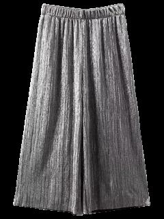 Pantalones Con Pliegues Escarcha Culotte Capri - Plata L