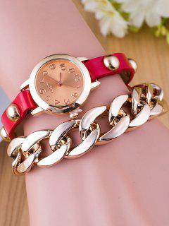 Chain Quartz Bracelet Watch - Red