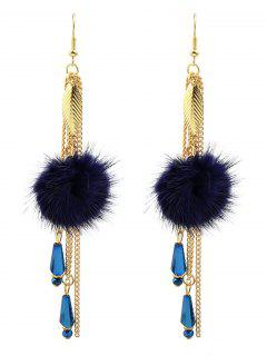 Fuzzy Ball Leaf Chain Earrings - Blue