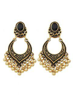 Bead Tassel Drop Earrings - Golden