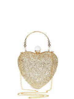 Metal Handle Heart Shape Rhinestones Evening Bag - Golden