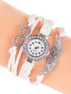 Layered Braided Quartz Bracelet Watch - White