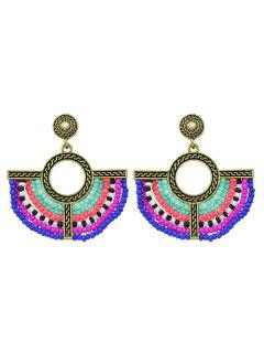 Bohemian Circle Beads Drop Earrings - Golden