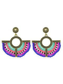 Boucles D'oreilles Ornées De Pendentif Bohémien Avec Cercle Et Perles - Or