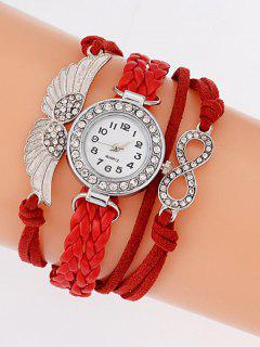 Layered Braided Quartz Bracelet Watch - Red