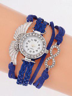 Reloj Pulsera Cuarzo Imitación Diamantes Alas Trenzado - Azul