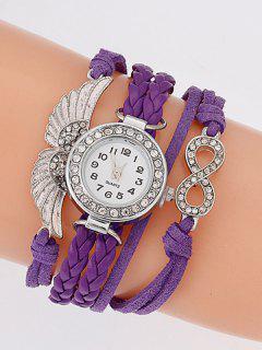 Layered Braided Quartz Bracelet Watch - Purple