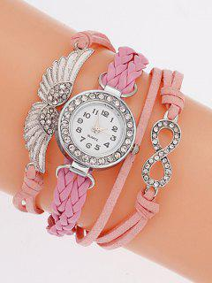 Layered Braided Quartz Bracelet Watch - Pink