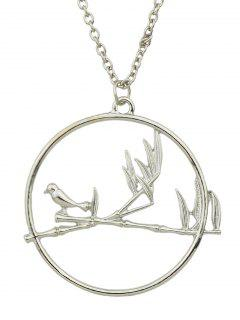 Circle Bird Pendant Necklace - Silver