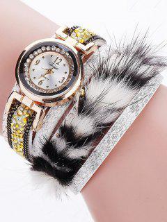 Layered Studded Faux Fur Bracelet Watch - White
