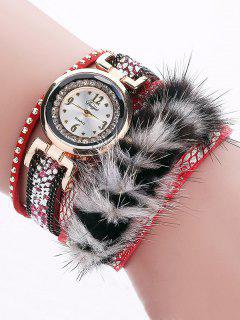 Layered Studded Faux Fur Bracelet Watch - Red