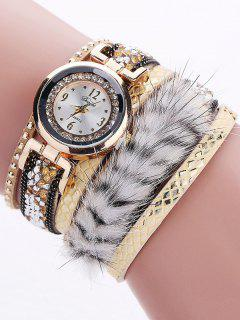 Layered Studded Faux Fur Bracelet Watch - Yellow