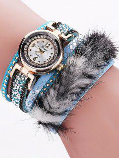 Layered Studded Faux Fur Bracelet Watch - Azure