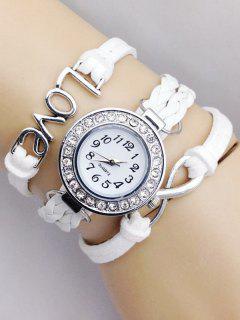 Love Braided Quartz Bracelet Watch - White