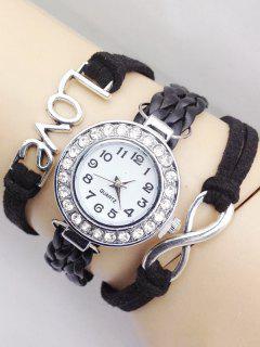Love Braided Quartz Bracelet Watch - Black