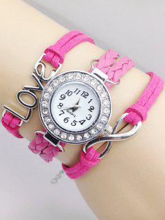 Love Braided Quartz Bracelet Watch - Pink