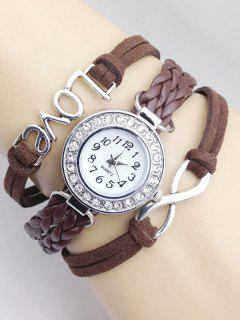 Love Braided Quartz Bracelet Watch - Brown