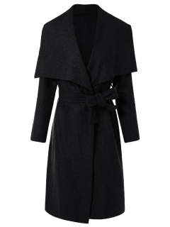 Tie Waist Shawl Collar Wrap Coat - Black S