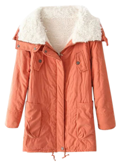 Zip-Up Lamb Wool Coat - Orangepink S