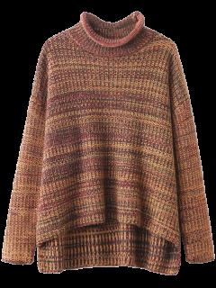 Col Cheminée Tachetée Sweater - Multicouleur