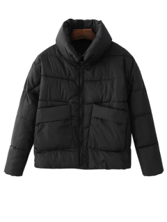 Stand Neck Puffer Jacket With Pocket - Black M