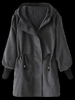 Abrigo Lana Capucha Cordón Ajustable - Gris Oscuro S