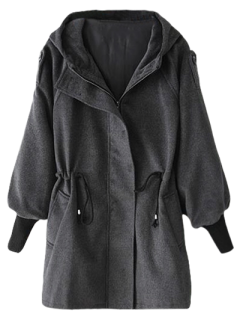 Hooded Wool Coat - Deep Gray S