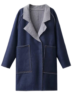 Fleece Lined Denim Oversized Coat - Deep Blue M
