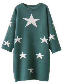 Stars Jacquard Sweater Dress - Green