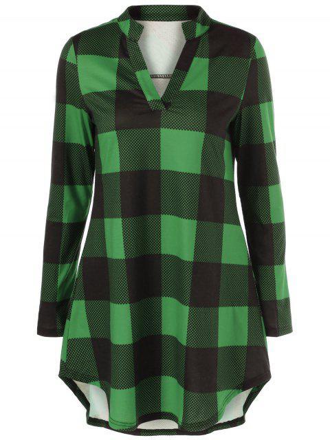 sale Split Neck Long Plaid Boyfriend T-Shirt - GREEN 3XL Mobile