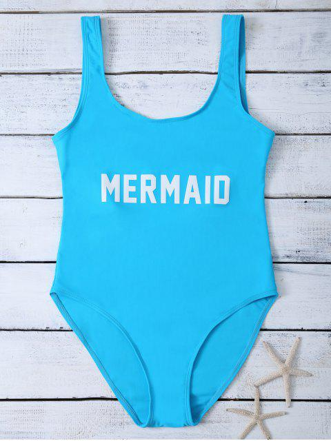fancy High Leg U Neck Swimsuit - LAKE BLUE S Mobile