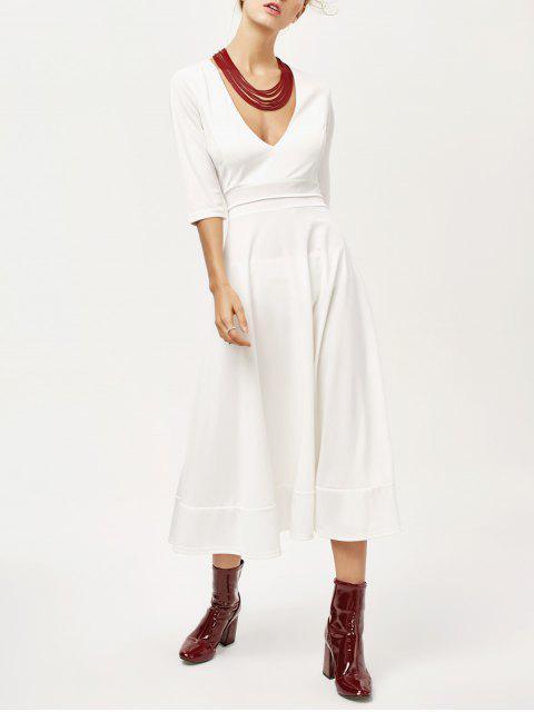 unique Low Cut Tea Length A Line Dress - WHITE S Mobile