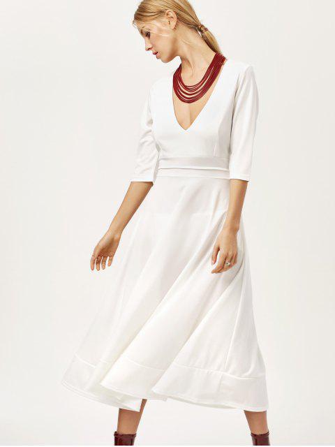 fancy Low Cut Tea Length A Line Dress - WHITE M Mobile