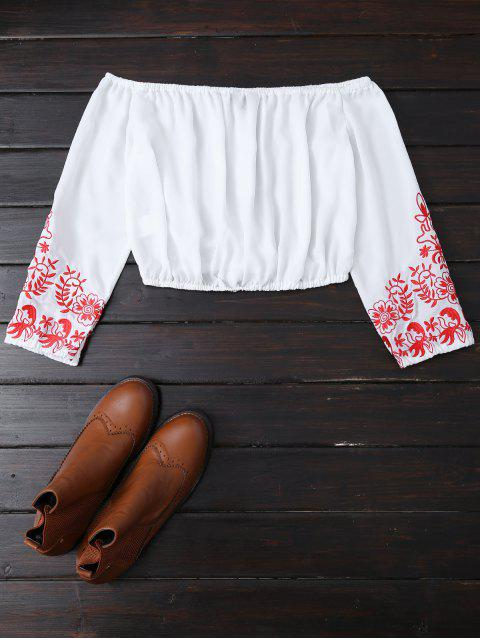 outfit Embroidered Off the Shoulder Cropped Blouse - WHITE M Mobile