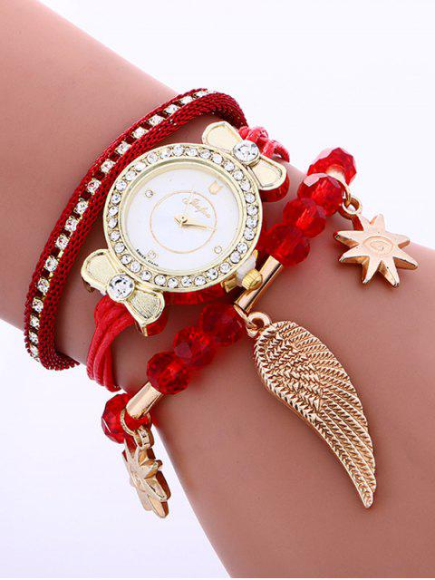 hot Layered Rhinestone Beaded Wing Bracelet Watch - RED  Mobile