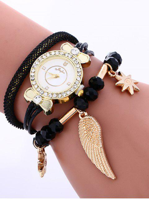 outfit Layered Rhinestone Beaded Wing Bracelet Watch - BLACK  Mobile