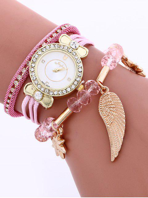 outfits Layered Rhinestone Beaded Wing Bracelet Watch - PINK  Mobile