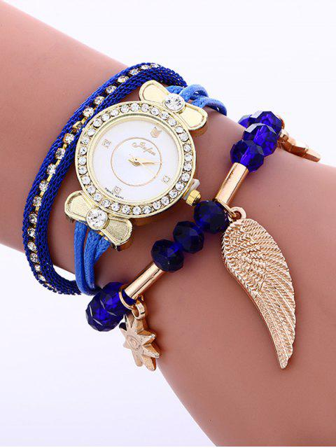 trendy Layered Rhinestone Beaded Wing Bracelet Watch -   Mobile