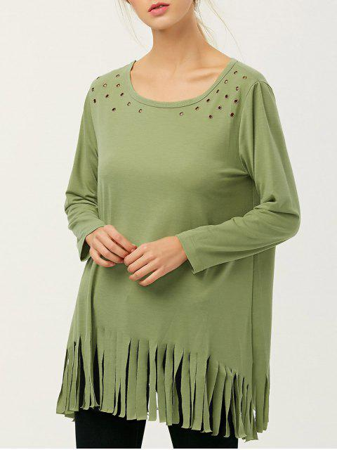 womens Fringe Rivet Hole Loose T-Shirt - PEA GREEN XL Mobile