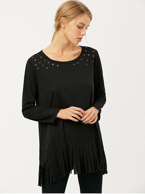 buy Fringe Rivet Hole Loose T-Shirt - BLACK M Mobile