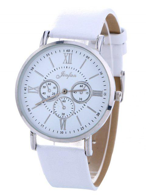 fashion Faux Leather Roman numeral Analog Watch - WHITE  Mobile