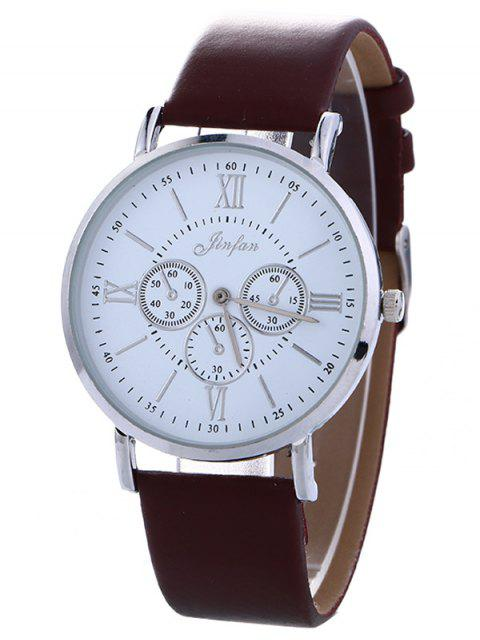 fancy Faux Leather Roman numeral Analog Watch - BROWN  Mobile