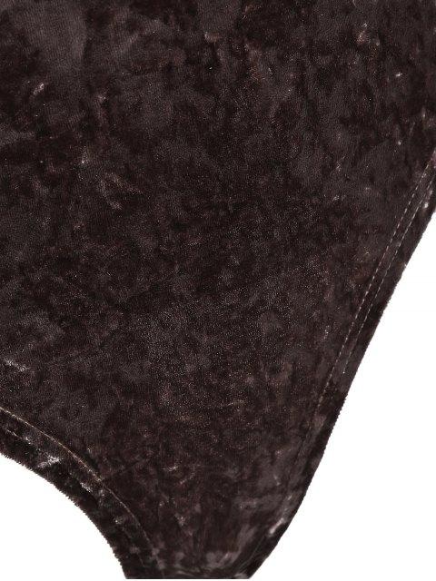 womens Plunging Neck Velvet Long Sleeve Bodysuit - COFFEE BROWN M Mobile